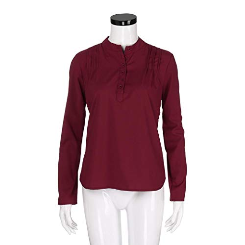 Loose Fashion Manches Blouse Cou Pure Casual Longues V Tops LULIKA Womens Shirts Color Rouge BSxwqfW5vn
