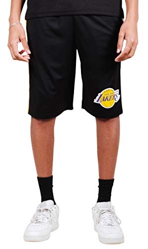 Ultra Game NBA Los Angeles Lakers Men's Mesh Athletic Active Basketball Shorts, Black, Large