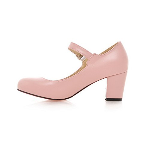 Pink Shoes BalaMasa Buckle Heels Chunky Leather Cut Imitated Low Pumps Uppers Womens aB7qng