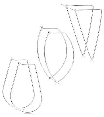 - FIBO STEEL 3 Pairs Stainless Steel Geometric Thin Hoop Earrings for Women Girls Drop Dangle Earring Jewelry Set Silver-tone