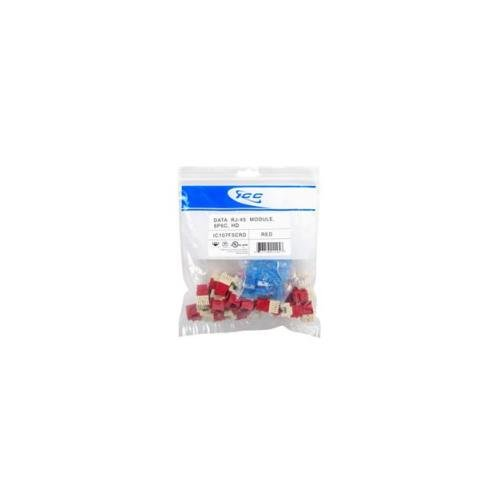 - ICC 8P8C HD Category 5e Module, 25 Pieces, Mod Connector, Red IC107F5CRD