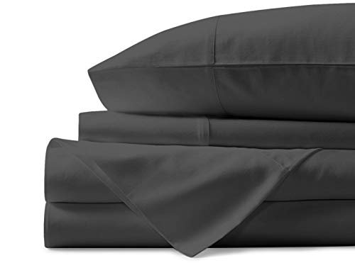 Mayfair Linen 100% Egyptian Cotton Sheets, Dark Grey Full Sheets Set, 600 Thread Count Long Staple Cotton, Sateen Weave for Soft and Silky Feel, Fits Mattress Upto 18'' DEEP Pocket