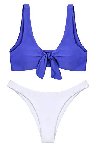 Bikinis Women In Thong - Lemonfish Women's Push Up Padded Bikini Tie Knot Front V Style Bottom Swimsuit Set(Royal Blue, US 8-10=Tag Size M)