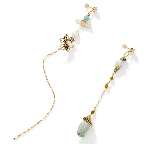 Handmade Wild Bluebell Flower Earrings,Crystal Pearl Earrings,Layered Tassel Long Thread Drop Earrings,Stud Earrings Fashion Jewelry for Women Girls Birthday Valentine Party Gifts ()
