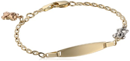 14k Gold Tri-Color Teddy Bear Baby ID Bracelet, 6""