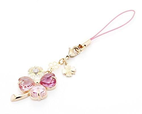 Cell phone Strap 029 four-leaf clover - Gradation(Pink3+Crystal Aurora)Gold Court by Kisaragi