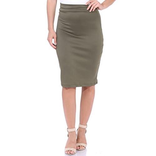 fd49636b0 new Popana Women's High Waist Knee Length Stretch Pencil Skirt - Ladies  Shaping Midi Skirt For