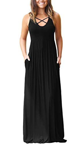 EZBELLE Women's Sleeveless Racerback Maxi Dresses with Pockets Plain Loose Casual High Waisted Long Dresses Black X-Large ()