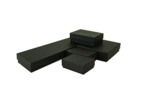 The Display Guys~ Pack of 100 Cotton Filled Cardboard Paper Black Jewelry Box Gift Case - Matte Black (MIX, 20 PCS OF EACH SIZE #11, #21, #32, #33, #82)