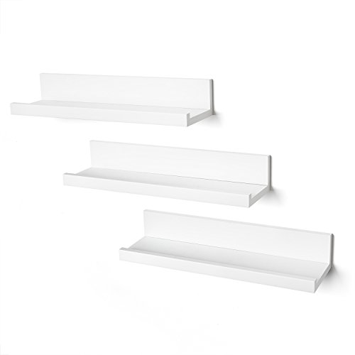 Set of Three 14 Inch Floating Wall Shelves-White
