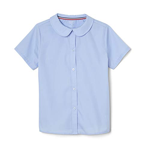French Toast Girls' Big' Short Sleeve Modern Peter Pan Collar Blouse, Light Blue, 18