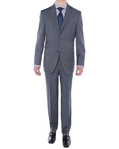 (LN LUCIANO NATAZZI Men's Two Button Suit Side Vent Jacket Super 160'S Wool Suit (40 Regular US / 50R EU/W 34