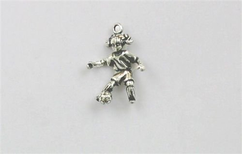 Sterling Silver 3-D Girl Soccer Player Charm - Jewelry Accessories Key Chain Bracelet Necklace ()