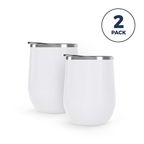 Maars Bev Stainless Steel Stemless Wine Glass Tumbler with Lid, Vacuum Insulated 12 oz - White Semi Matte Cup | Spill Proof, Travel Friendly, Classic Cocktail Drinkware - 2 Pack Set