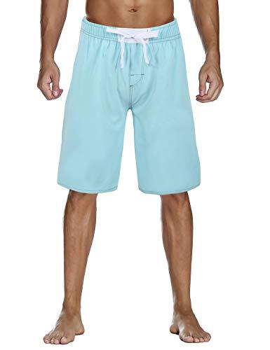 Nonwe Men's Swimming Trunks Quick Dry Solid Hawaiian Vacation Boardshorts Drawsting Blue 34