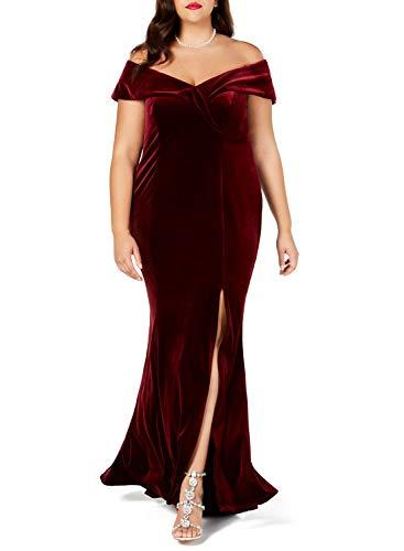 Lalagen Women Plus Size Off Shoulder Velvet Formal Gown Evening Party Dress Red XL