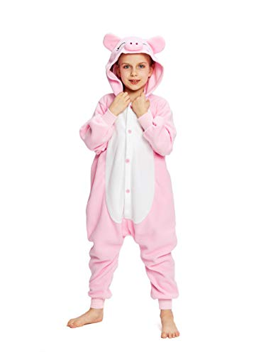 NEWCOSPLAY Unisex Children Pink Pig Pyjamas Halloween Costume (8-Height