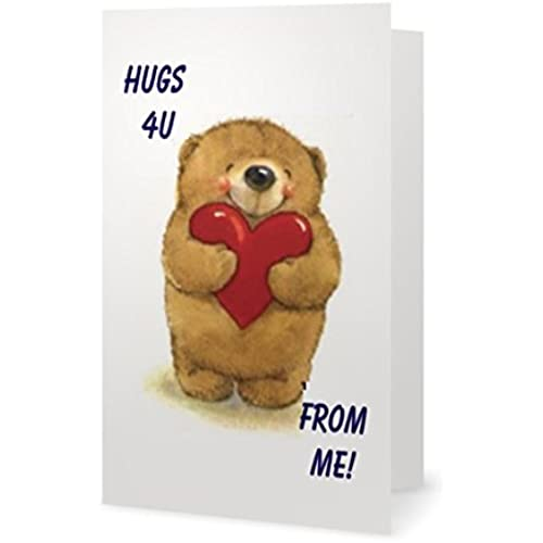 Valentines Day Spouse Wife Husband Friend Sweetheart Bear Hug Cute Love Greetiing Card (5x7) by QuickieCards. Sales