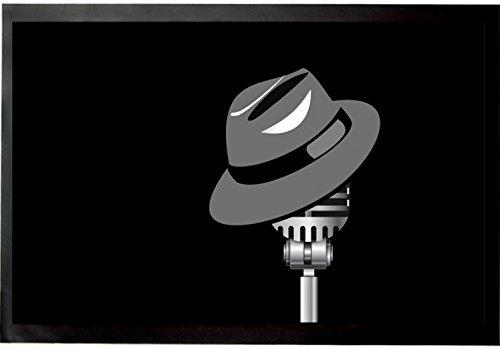 1art1 Music Door Mat Floor Mat - Fedora Hat and Microphone (24 x 16 inches)