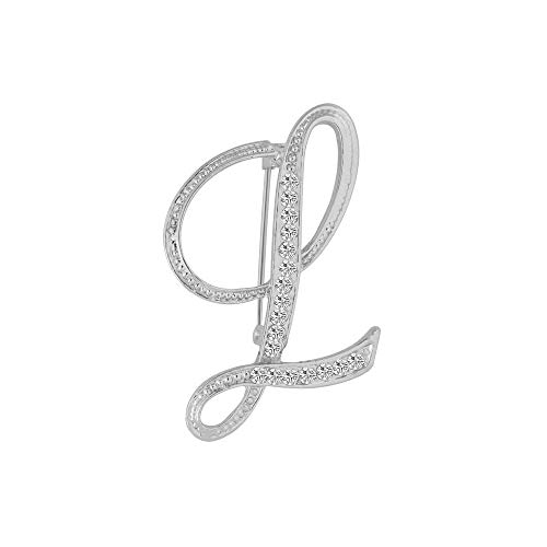 WLLAY Silver Alloy Crystal 26 Alphabet English Letters Initial Personalized Charms Brooch Pin Jewelry Gift(L) (For Letters Christmas Stockings)
