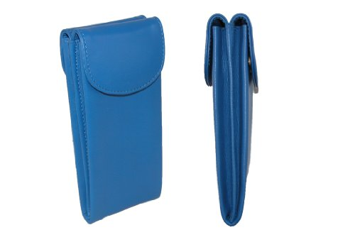 CTM Women's Leather Double Eyeglass Holder Case, Cobalt Blue