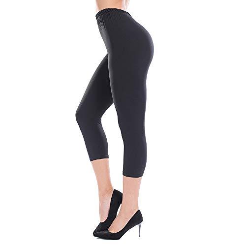 ZEALOTPOWER Black Capri Leggings for Women Plus Size Ultra Soft High Waist Stretchable Plus Size - (12-24)