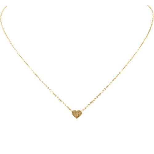Humble Chic Tiny Heart Necklace - Delicate Dainty Pendant Chain Link Mini Charm, Gold-Tone
