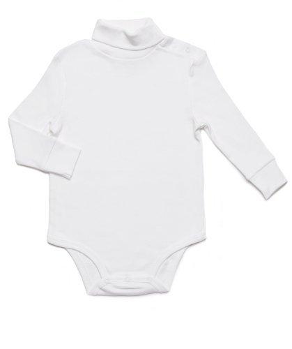 - Leveret Long Sleeve Baby Boys Girls Bodysuit Turtleneck 100% Cotton Baby Underwear (24 Months, White)