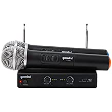 Gemini VHF Series VHF-02M Professional Audio DJ Equimpent Superior Dual Channel Wireless VHF System and Handheld Microphones (Set of 2) with 100ft Opereating Range