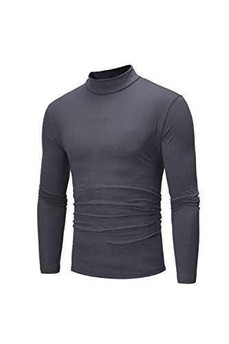 Larga Darkgrey Manga Slim Hombres Casual Fit Alto Jersey Camisas Cuello Camiseta pqxwPwvEt