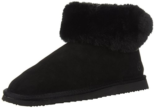 Dearfoams Womens Suede Bootie Slipper with Lacing - Indoor / Outdoor Padded Slippers with Geniune Suede and Warm Shearling Lining