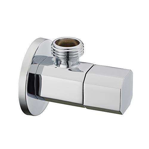 Royal H&H Modern Angle Valve Stop Octagonal Knob 1/2-inch Male IPS G1/2 Solid Brass Polished Chrome Quarter Turn