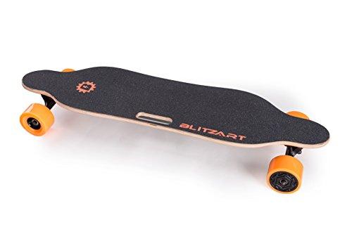 "BLITZART Tornado 38"" Electric Longboard E-Skateboard Motorized Electronic Hub-Motor 3.5"" PU Wheels (Orange)"
