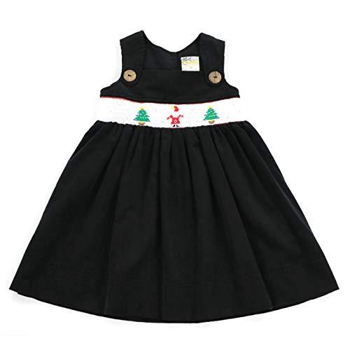 sissymini - Toddler Holiday Tinsel Hand Smocked Jumper Corduroy Dress (Onyx Black Santa, 4T)