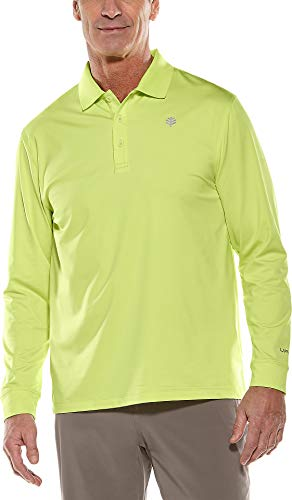 Coolibar UPF 50+ Men's Long Sleeve St. Andrews Golf Polo - Sun Protective (X-Large- Limelight)