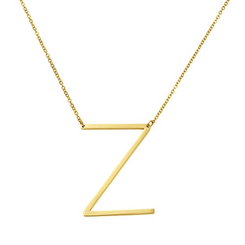 Yiyangjewelry Initial Necklace 18K Real Gold Plated Stainless Steel Jewelry 26 Big Alphabets Script Personalized Gift Name Pendant Z ()