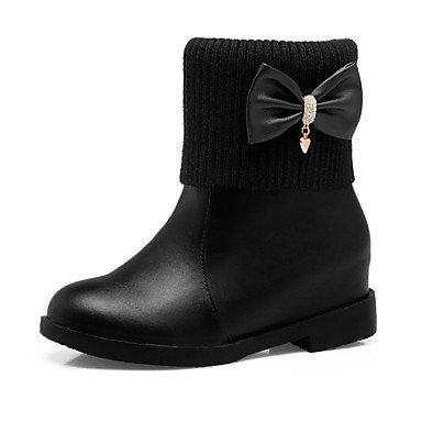 Mujer nieve Hasta Botas Tobillo de Botas Botas Heart de Zapatos Tacón Bajo Moda Otoño el Semicuero Robusto Tacón Dedo amp;M Botines redondo Invierno 855BqfR