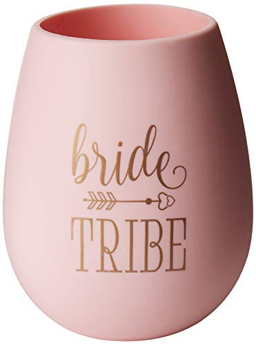 10 Piece Set of Bride Tribe and Bride Silicone Wine Cups, Perfect for Bachelorette Parties, Weddings, and Bridal Showers - Pink