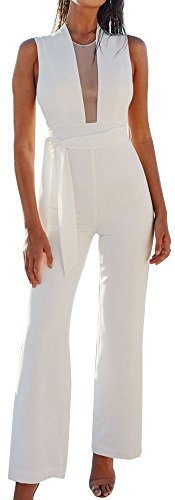White Women's Jumpsuit (FANCYINN Women Sexy Zipper Back Solid Jumpsuits Bodycon Long Romper Pants with Belt White M)