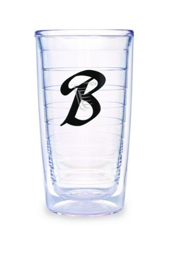 (Tervis Tumbler Black Laser Twill Initial - B 16-Ounce Double Wall Insulated Tumbler Set of 4)