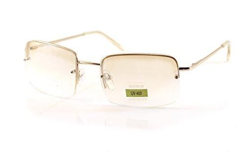 FBL Minimalist Medium Rectangular Sunglasses Clear Eyewear Spring Hinge A173 A174 ((Clear) Silver ()