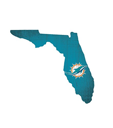 Fan Creations Miami Dolphins Wood Sign 12 Inch State Shape Design ()