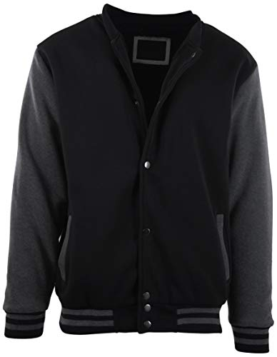 (ChoiceApparel Mens Baseball Varsity Jacket with Detachable Hoodie (XL, 111-Black/Charcoal))