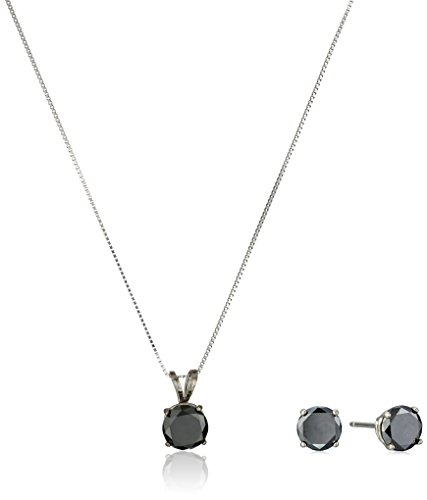 14k White Gold Black Diamond Pendant Necklace and Earring...