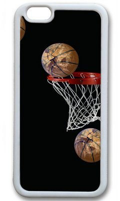 basketball going in basket diy rubber white iphone 6 plus case