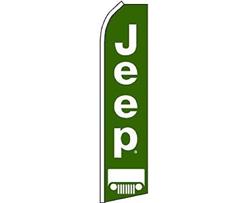 ALBATROS Jeep Green White Swooper Super Feather Advertising Marketing Flag for Home and Parades, Official Party, All Weather Indoors Outdoors