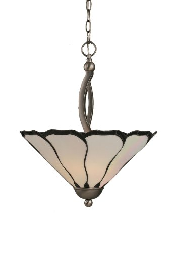 (Toltec Lighting 274-BN-912 Bow Two-Bulb Uplight Pendant Brushed Nickel with Pearl Flair Tiffany Glass, 16-Inch)