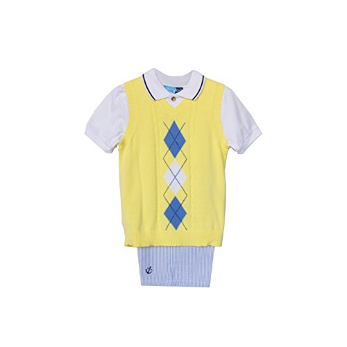 Good Lad Baby Boys Yellow Argyle Sweater Vest Set (3/6M)