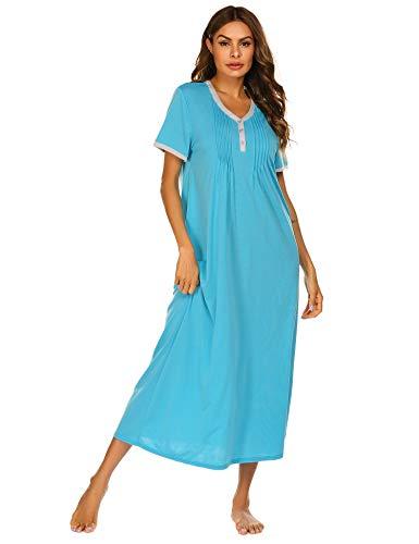 Ekouaer Womens Nightshirt Short Sleeves Nightgown, Casual Sleepwear Henley Full Length Sleep Dress Sky Blue