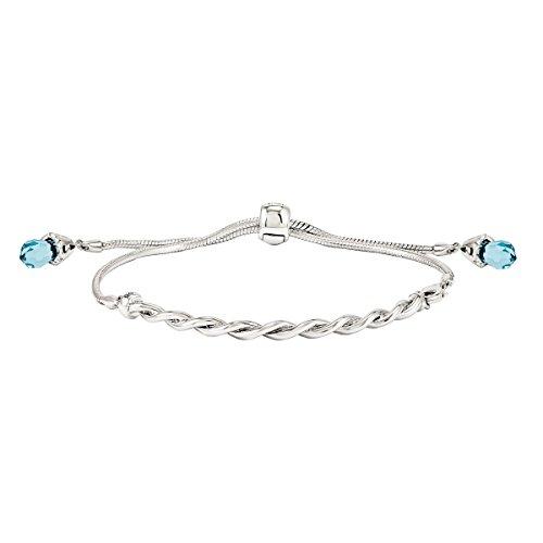 5 Silver Twisted Bar Adjust Bangle Bracelet, Briolette Crystals from Swarovski (Light-Turquoise-Colored Crystal) ()